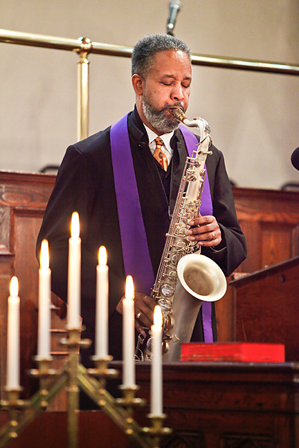 Rev. Nathaniel Dixon performs during a service celebrating the church�s 189th anniversary.