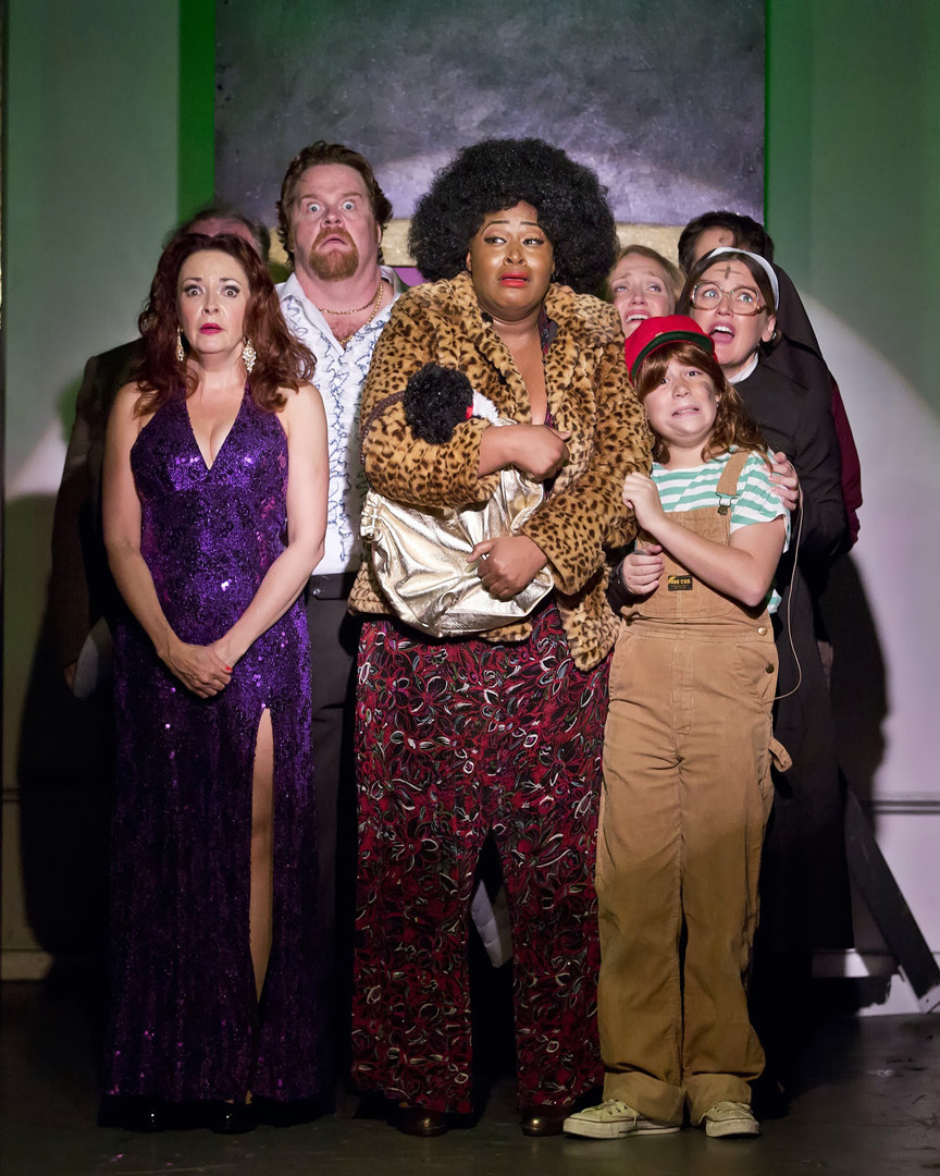 Michele Ragusa, John Treacy Egan, Charity Dawson, Haven Burton, Jonah Verdon and Jennifer Simard in a scene at a casino from DISASTER! a 1970's disaster movie musical written by Seth Rudetsky and Jack Plotnick at the St. Luke Church.
