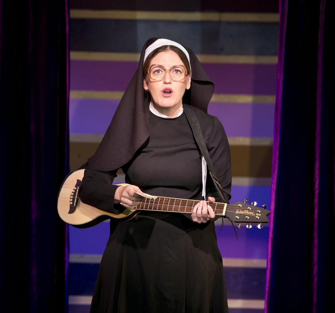 Jennifer Simard as Sister Mary, in a scene from DISASTER! a 1970's disaster movie musical written by Seth Rudetsky and Jack Plotnick at the St. Luke Church.