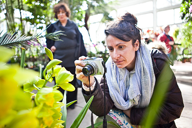 Ilana Sobo, an avid photographer, gets as close as she can to capture an orchid in film.