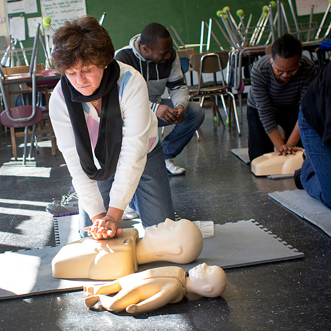 Lillie Gonzalez learns to perform CPR during a class at the Riverdale Community Center earlier this month.