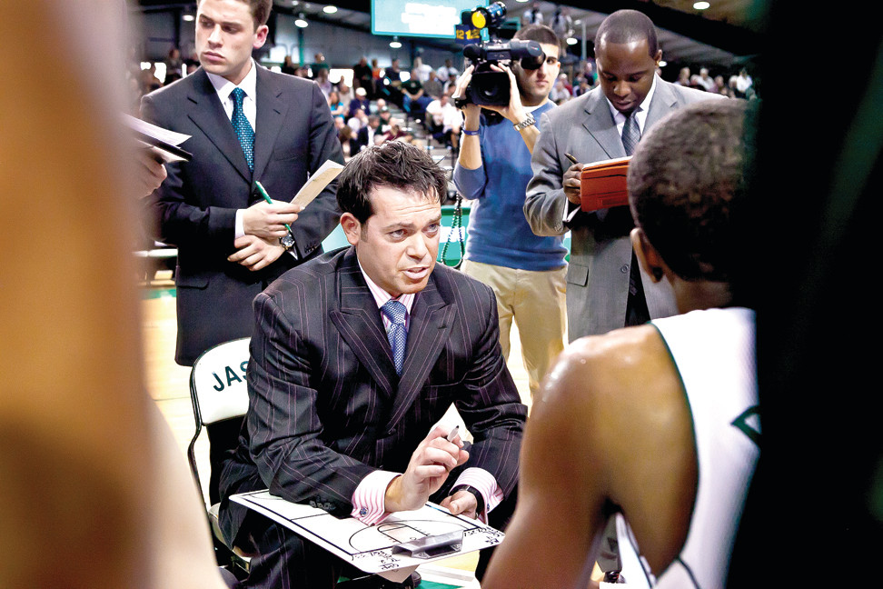 Jaspers' head coach Steve Masiello outlines a play during a game last year at Manhattan College's Draddy Gym.