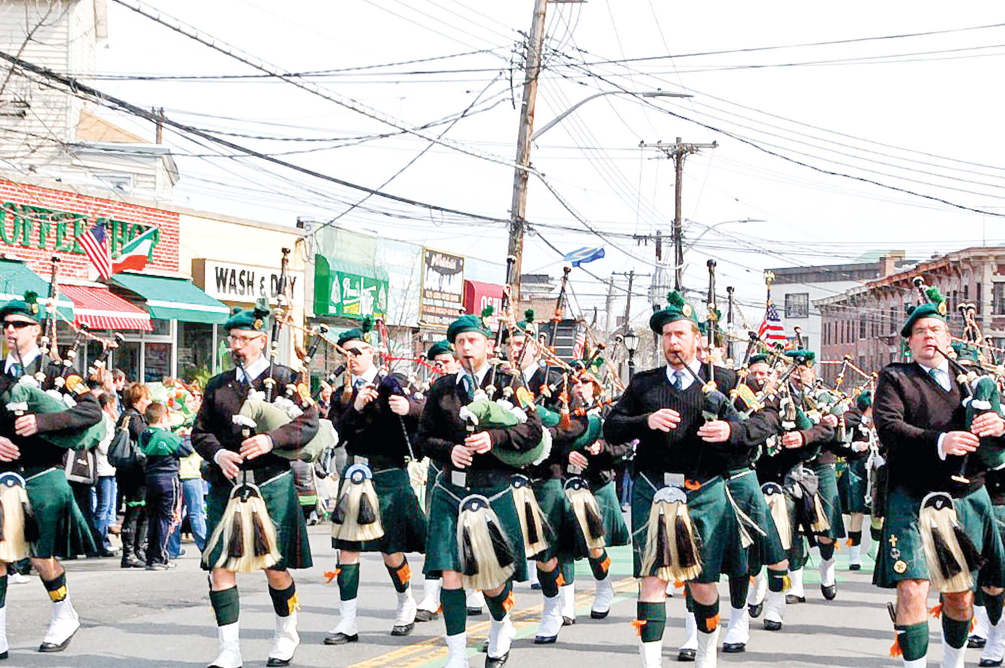 Manhattan College marchers sported kilts in their school colors.