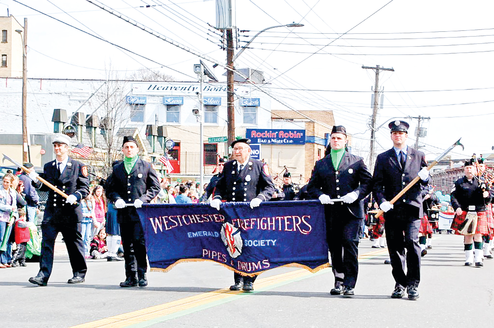 The Westchester Firefighters Emerald Society joined the parade.