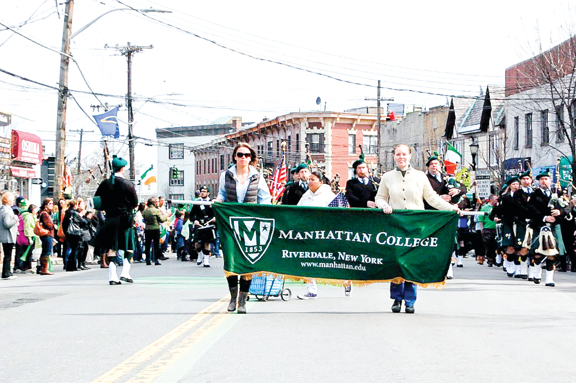 Pipers from Manhattan College marched proudly down McLean Avenue in Yonkers on Saturday, March 22, in the city's 59th annual St. Patrick's Day parade.