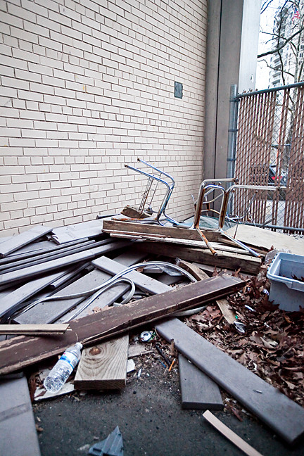 A rat ran into this pile of rubble in the back of David A. Stein Riverdale/Kingsbridge Academy, MS/HS 141 on March 28.