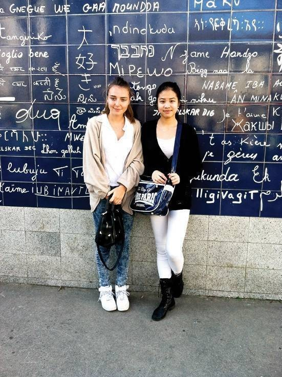 Irinia Hsu, right, a from Horace Mann student with her French correspondent Mathilde Robinet while visiting Paris in March for the Horace Mann-Ecole Active Bilingue Jeannine Manuel Student Exchange Program.