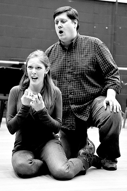 Andrew Oakden, as Germont pleads with Jennifer Moore, as Violetta in Act two in the rehearsal of Giuseppe Verdi's 'La traviata' at Lehman College.