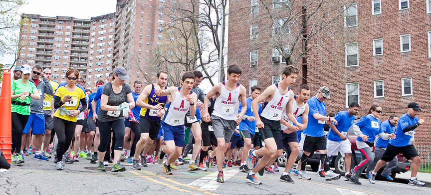 Erez Needleman, 16, Marcos Anderson, 15, Yosef Kesseler, 18, and Nick Hoffman all from High School of America Studies lead the wave of 10K and 5K runners as the of Riverdale Y Running Festival Half Marathon, 10K and 5K Run/Walk plied the streets of Riverdale on Sunday.