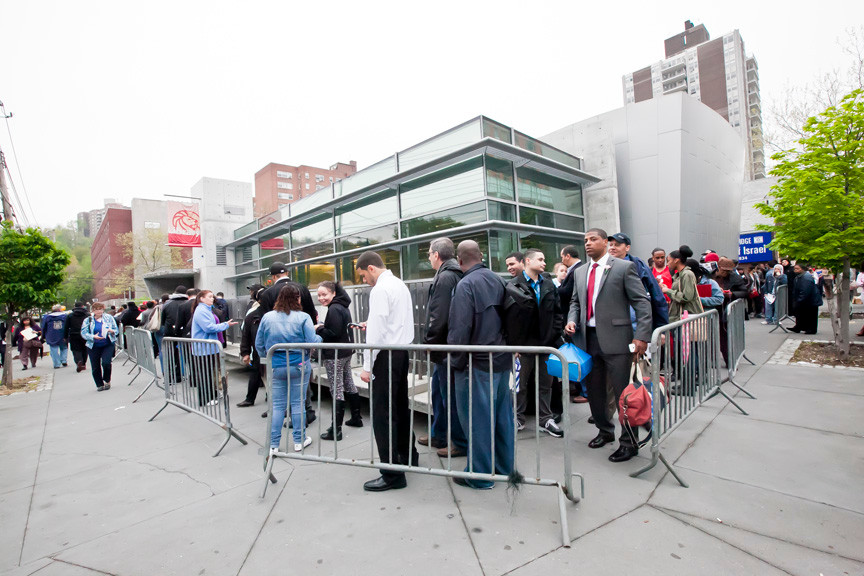 People waited in line for hours to enter the Kingsbridge Library for the Broadway Plaza job fair on May 9.