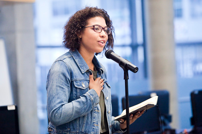 Natasha Estevez,18, is the winner of the Community Board 8�s second annual Bronx Youth Poetry Slam on May 15.
