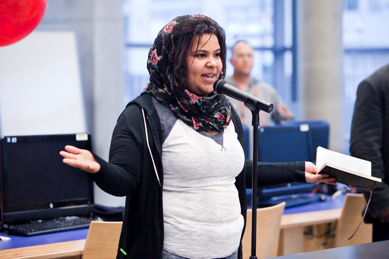 Anaselies Rodriguez, 18, won the Civic Poem at the Community Board 8�s second annual Bronx Youth Poetry Slam on May 15.