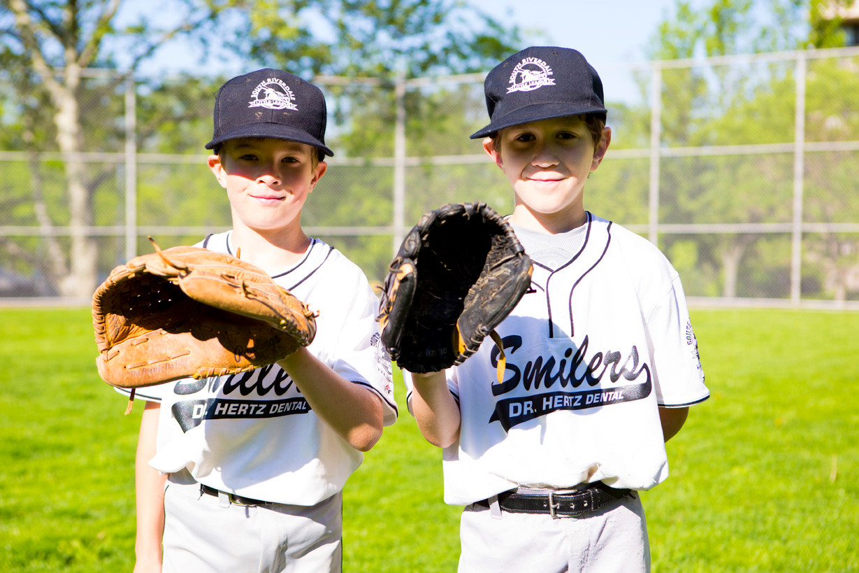 Evan Kurtz, 9 and Danny Drotos, 9, who play for the Dr. Hertz Dental Smilers, at Riverdale Playground on Saturday.