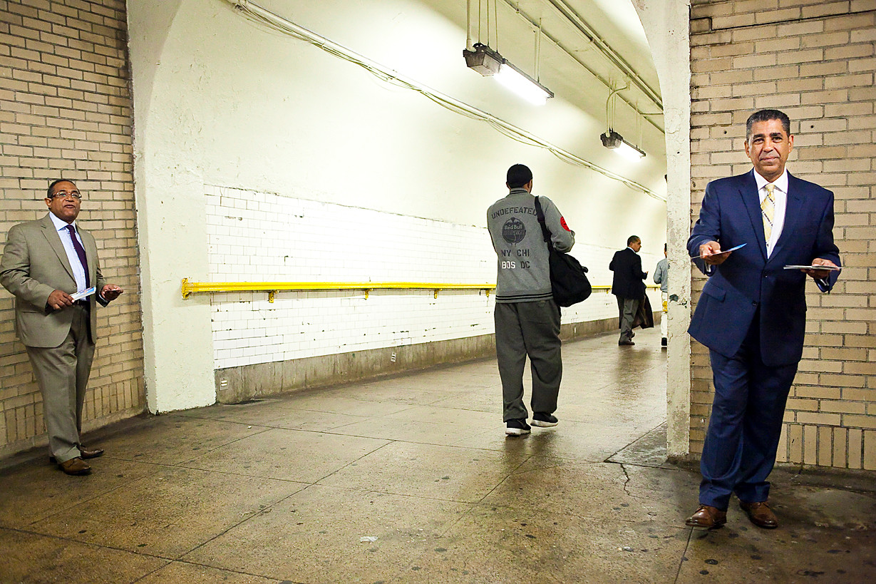 Sen. Adriano Espaillat hands out campaigns flyers at the 181st Street subway stop in Upper Manhattan on May 15.