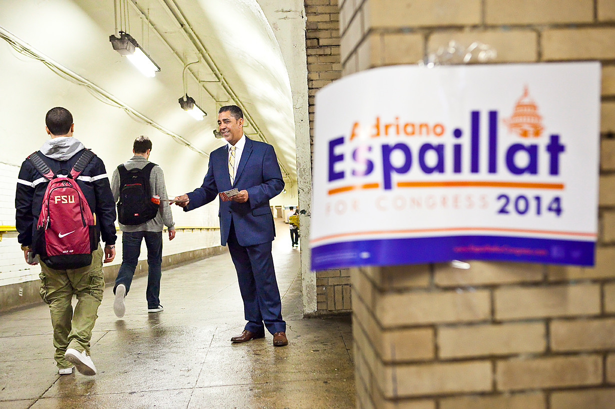 As usual, Mr. Espaillat employed both English and Spanish while campaigning.