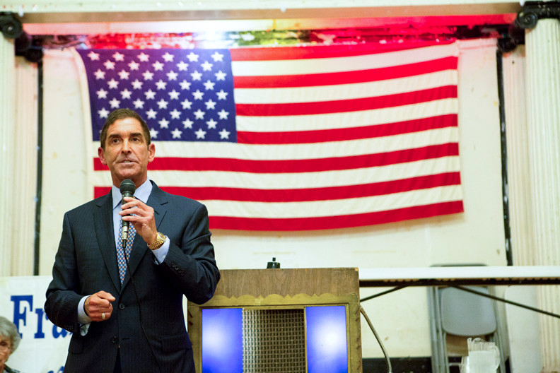 State Sen. Co-Majority Leader Jeff Klein speaks to the Benjamin Franklin Reform Democratic Club inside the American Legion lodge on Corlear Avenue on May 22.