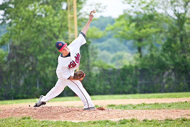 Starting pitcher Geraldo Nuñez was called in as a middle relief pitcher in the top of the third inning for the JFK Knights against John Bowne�s Wildcats at the JFK campus on May 21. The Knights went on to lose the game 6-2 in the playoff game.