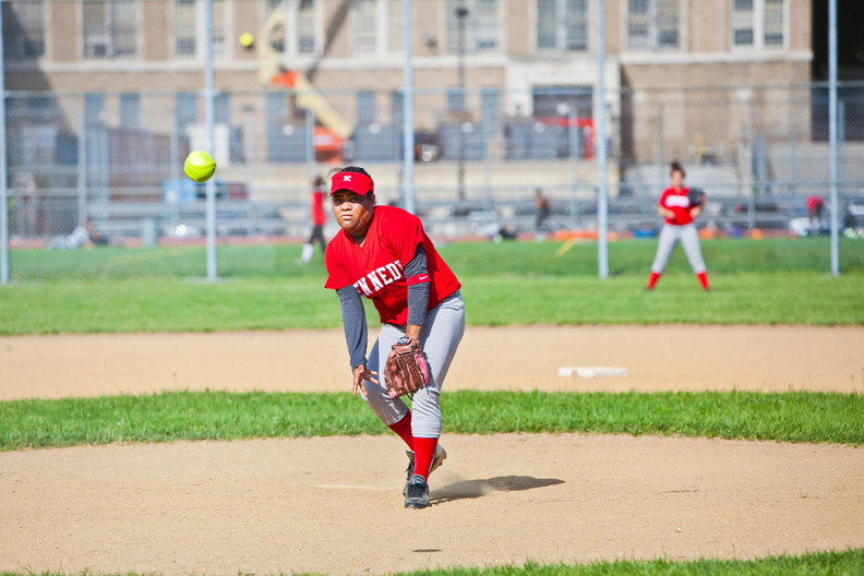 John F. Kennedy Pitcher Charina Medina faces the Long Island City line-up on neutral ground at DeWitt Clinton High School's softball field on May 29. She had a difficult top of the fourth inning, allowing seven runners to cross the plate before the final out. The JFK girls went on to win 10-9.