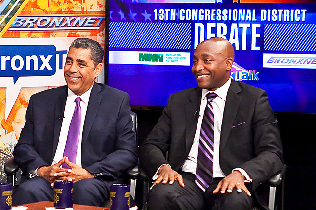 State Sen. Adriano Espa illat and Rev. Michael Walrond at a debate focusing on the borough on 'BronxTalk.'