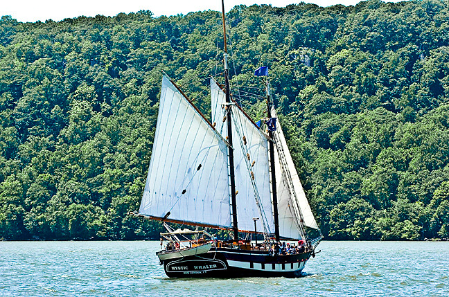 The Mystic Whaler offered wind-powered rides on the Hudson.