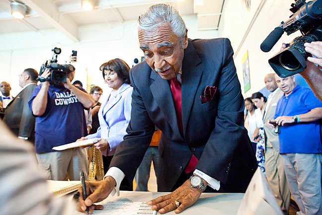 Rep. Charles Rangel signs up to cast his vote on Tuesday morning at the Henry HighlandGarnet School, P.S. 175 in Harlem.