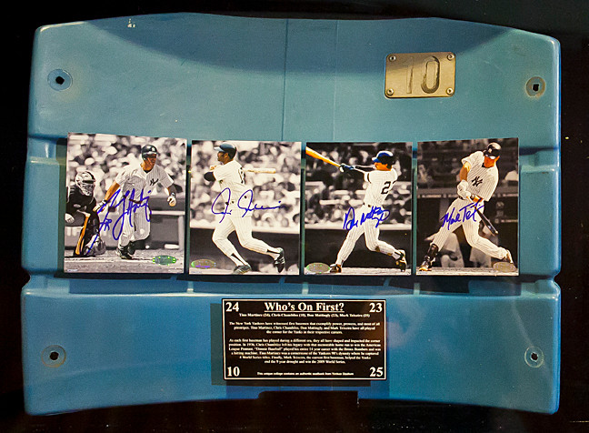 Back of a seat from the original Yankee Stadium features Tino Martinez, Don Mattingly, Chris Chambliss and Mark Teixeira are apart of the exhibition at the Hebrew Home.
