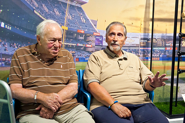 Bill Beck, 87 and Al Cappiello, 64, share their Yankee memories with the 'Press' as they sit in the seats that where once part of the original Yankee Stadium at the exhibition at the Hebrew Home.