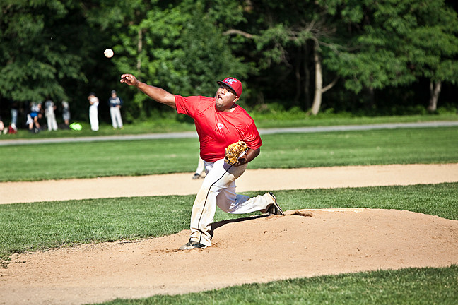 Justin Gomez, 21, pitched a complete 4-inning game for the Orioles against the City Knights in the Van Cortlandt Baseball League on Saturday.