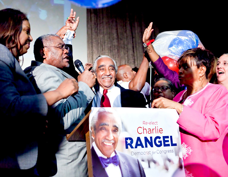 Rep. Charles Rangel is declared the victor of the 13th Congressional District by his supporters at 11:53pm at the election party at Taino Tower on Tuesday,  June 17.