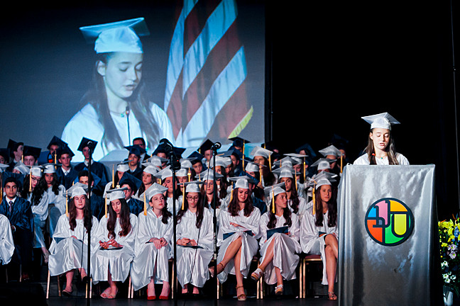 Grader Davida Kraus addresses the audience at the SAR Academy's graduation ceremony on June 18.