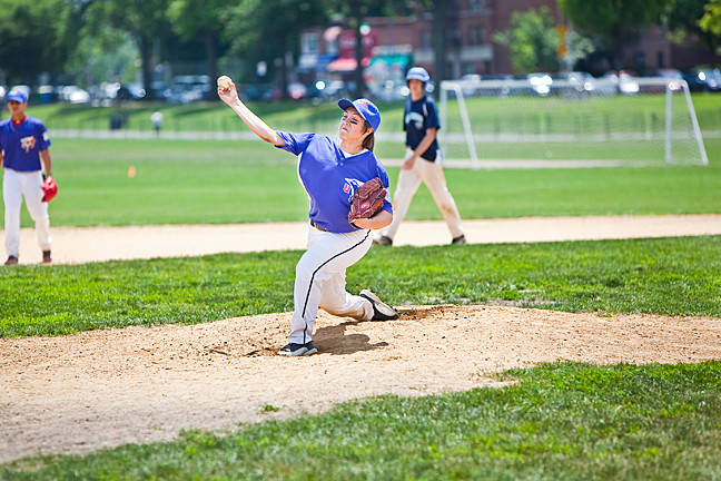 Jessica 'Tanaka' Gorman, 15, starting pitcher for Union International Baseball stayed in the game until the bottom of the 4th innings against the Marines in the Van Cortlandt baseball league at Van Cortlandt Park on Saturday.