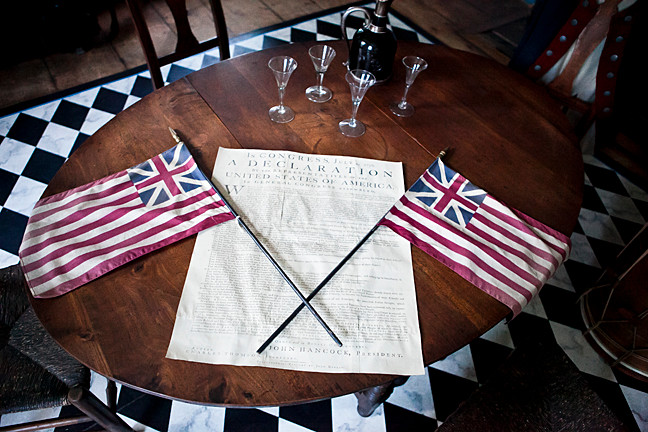 A replica of an 18th-century printing of the Declaration of Independence.