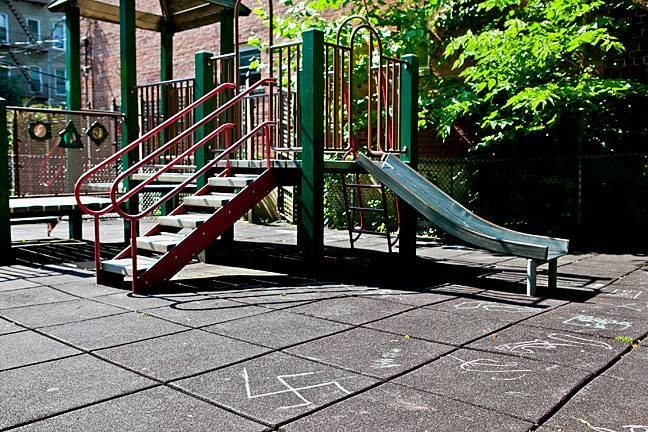 The McLauchlin Playground was the site of several swastikas and the phrase 'Kill Jews' on July 11.
