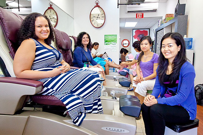 Dolores Snyder, Natalie Shines, Miki Hanta and Amy Zhang are featured in 'Mani-Pedi,' a comedic, 10-minute film shot at Lee's Nail Salon, at 5927 Riverdale Ave.