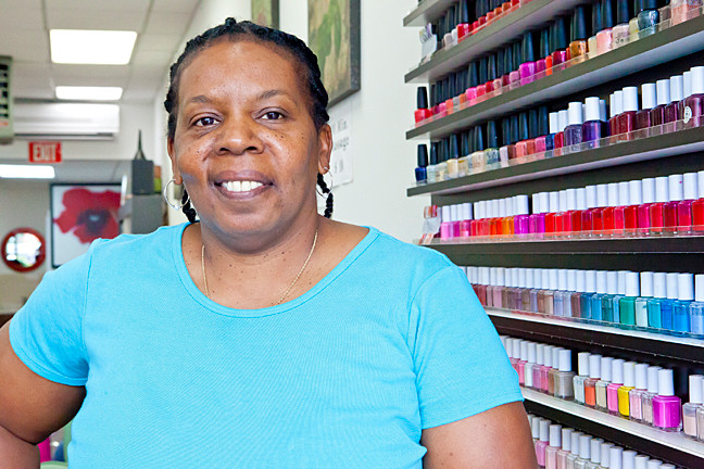 Filmmaker Sandra Nixon at Lee�s Nail Salon.