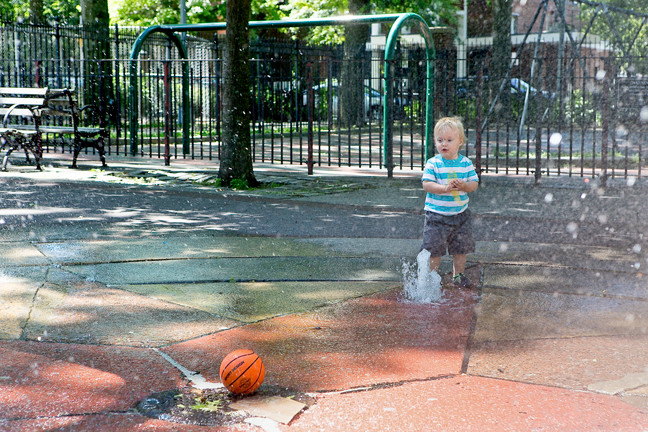 Jesse Schoone, 1, knows the place to be on a hot holiday weekend is at the fountain at Vann Cortlandt Park, where he sent a happy Saturday.