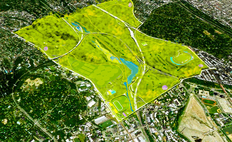 A projected aerial view of Van Cortlandt Park after the Master Plan is implemented.