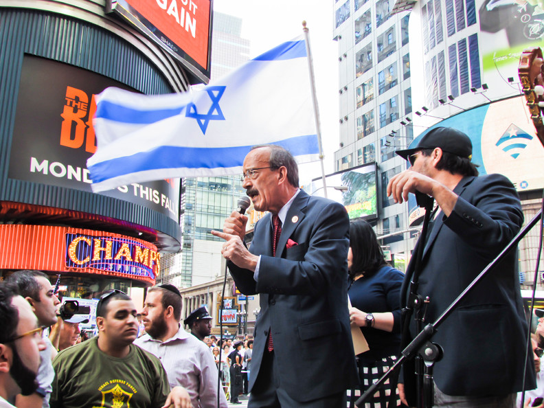 Rep. Eliot Engel speaks in support of Israel at a rally in Times Square on Sunday.An estimated 3,000 people attended the event, organized on social media.