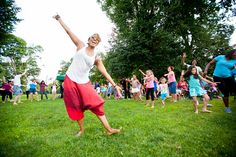 Caren Calder, 63, demonstrates West African dance during one of the annual Barefoot Dancing events on the lawn of the Van Cortlandt House on July 17.