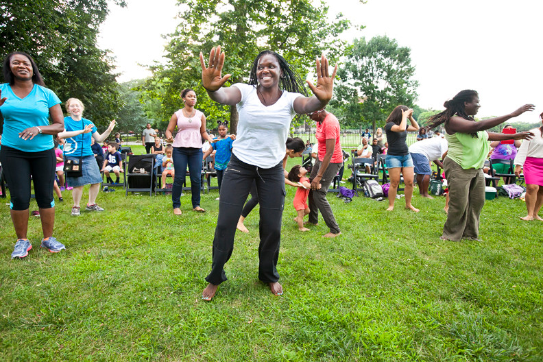Sandra Marshall, 53, participates in Caren Calder�s West African dance.