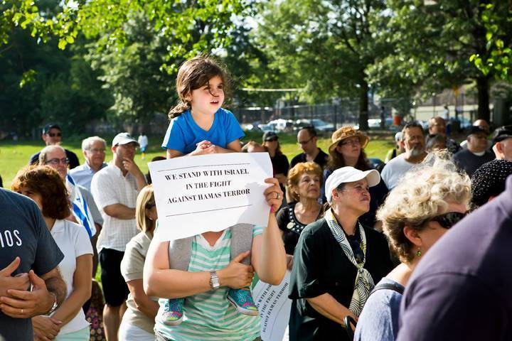 Many Parents brought children to a pro-Israel rally Sunday at Seton Park. Speakers including politicians and rabbis emphasized Riverdale's ties to Israel as the country remains in conflict with Gaza.