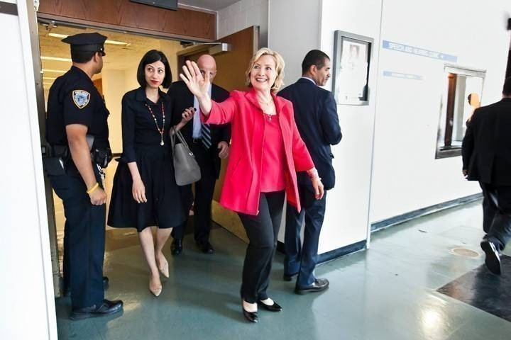 Hillary Rodham Clinton waves to admirers after the Bronx Cildren's Museum 'Dream Big Day at Lehman College on July 25.
