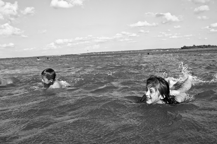 Gabby Rodriguez, 8, and Christopher Rodriguez, 5, swimming at Orchard Beach.