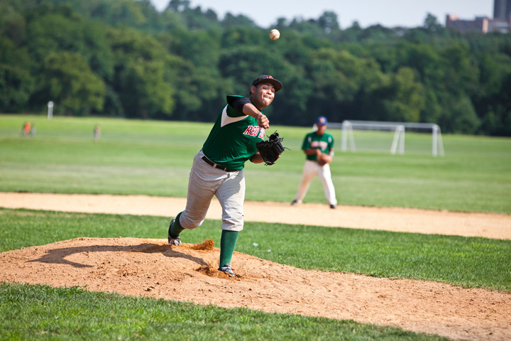 Henry Rosario starting pitcher for the Van Cortlandt Park Baseball League Red Sox on July 25 at Van Cortlandt Park.