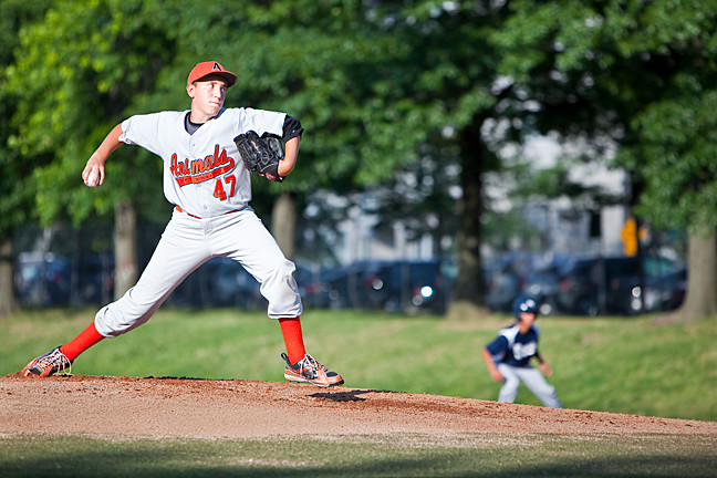 Zach 'Hot Wheels' Faber starting pitcher for the South Riverdale Animals against the Bayside Yankees at Seton Park on Monday, August 4, 2014.