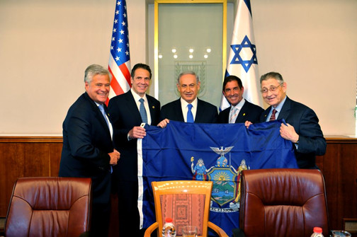 The New York State-Israel Unity Delegation meets with Prime Minister Benjamin Netanyahu on Aug. 13 in Jerusalem.