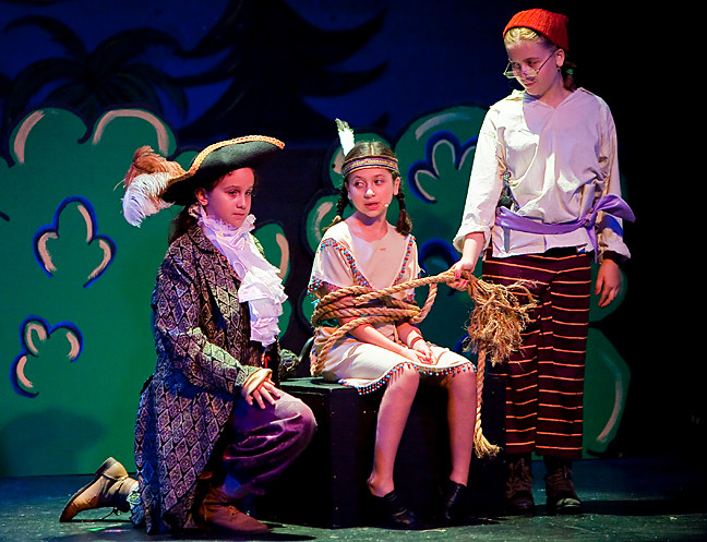 Samantha Trombone, 11, as Captain Hook, Eliza Fischer, 9, as Tiger Lily and Abigail Fischer, 12, as Smee.