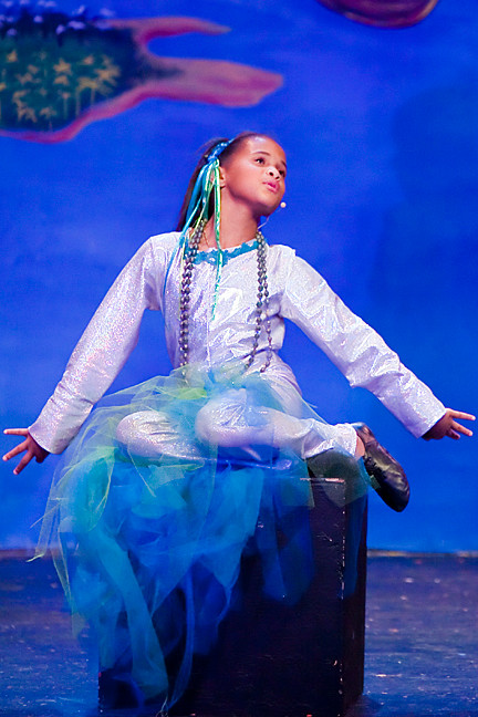 Tatyana Moore, 7, as a mermaid.