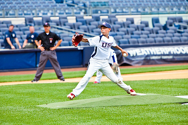 Jake Miller starting pitcher for the Knights against the Rebels at Yankee stadium on August 14.