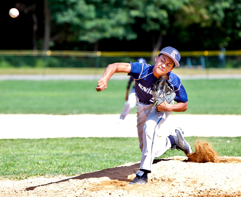 Erubiel Candelario starting pitcher for the Uptown Sports Complex Knights, dominated the Twins in Van Cortlandt Park on Monday.